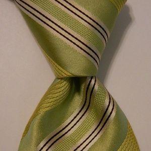 HUGO BOSS Silk Necktie ITALY Striped Green EUC